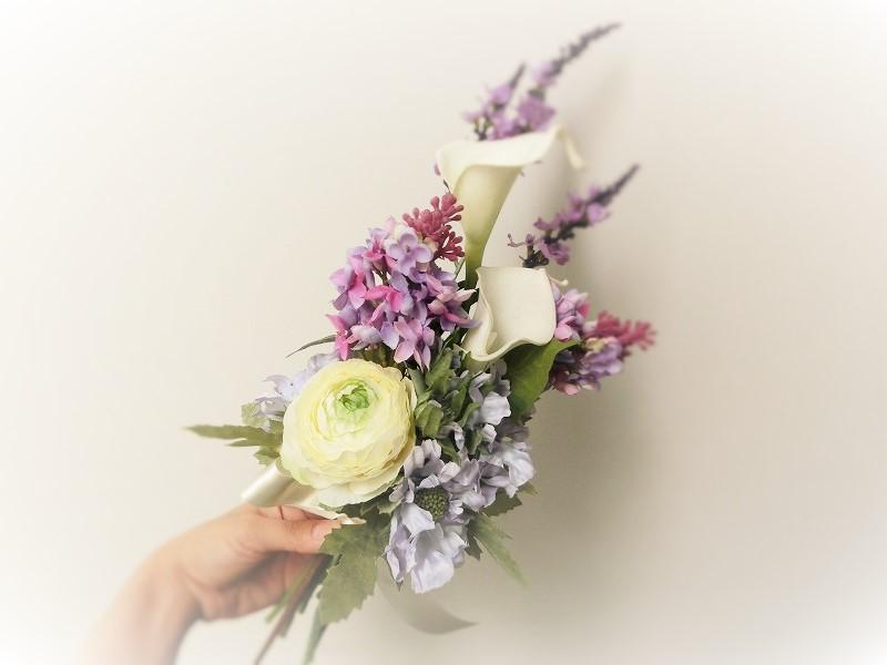 アーティフシャルフラワー花束・パープル&ホワイト系