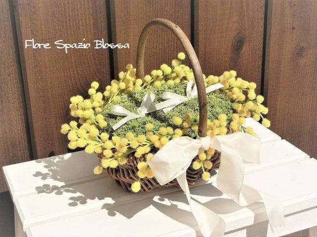ミモザ 花かごリングピロー