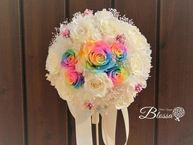 プリザ レインボーローズ 虹色のブーケ