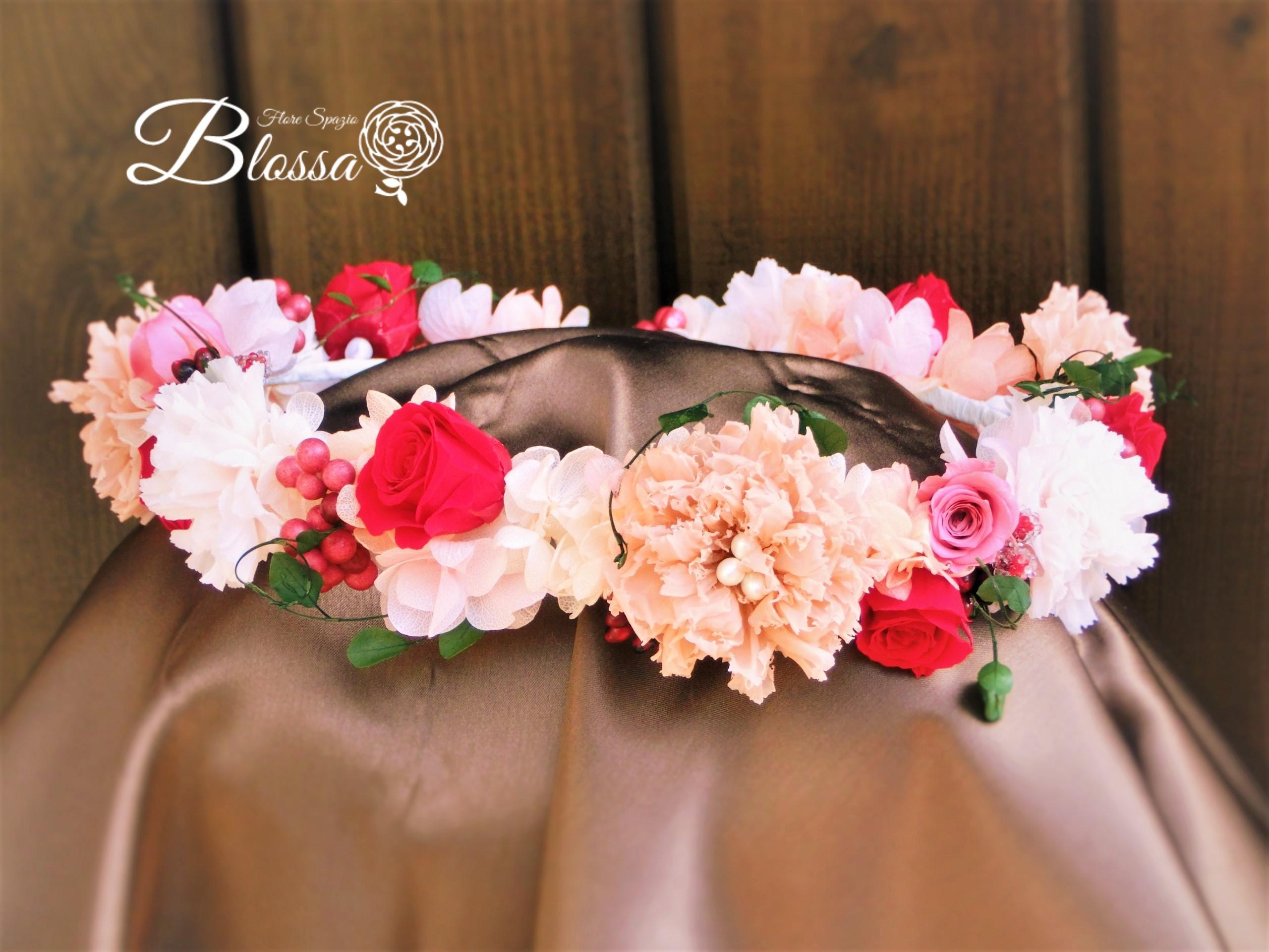 プリザ ワインレッドの花冠