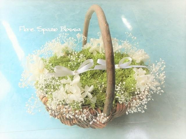 プリザ カスミ草 小花・花かごリングピロー