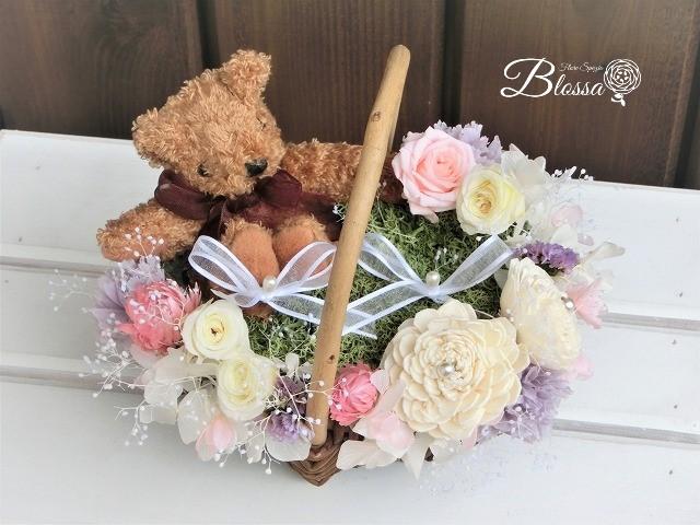 プリザ くまちゃんの花かごリングピロー