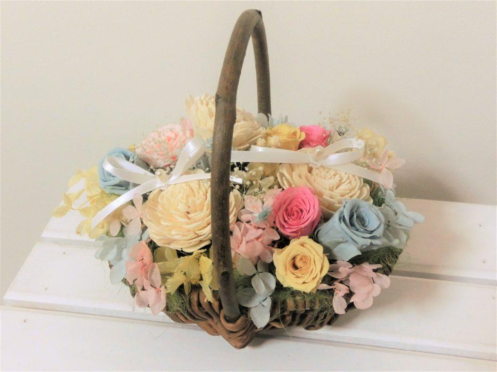 パステルカラーの花かごリングピロー♪
