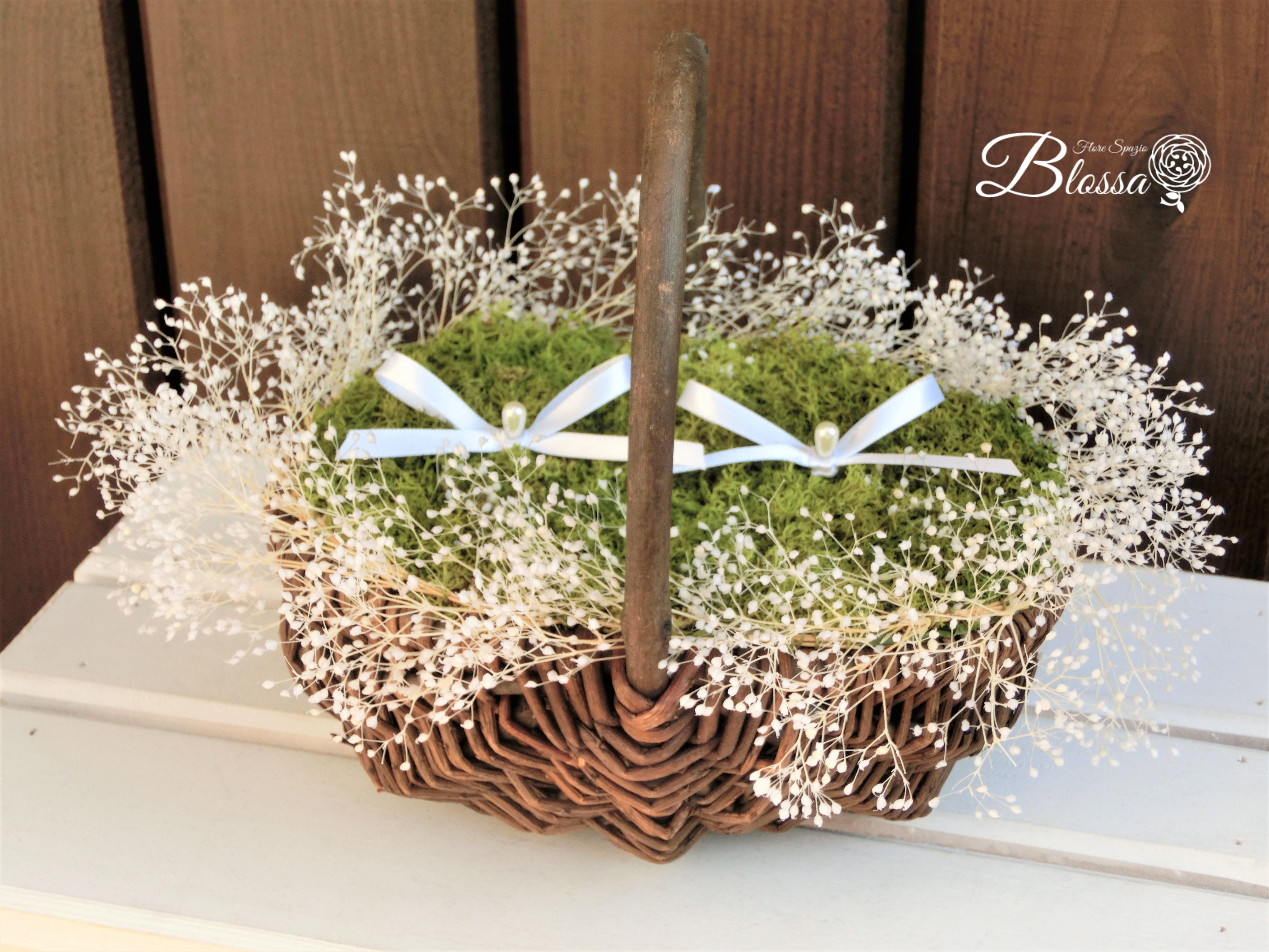 プリザーブドフラワー リングピロー カスミソウ花かご バスケット リングガール&リングボーイ