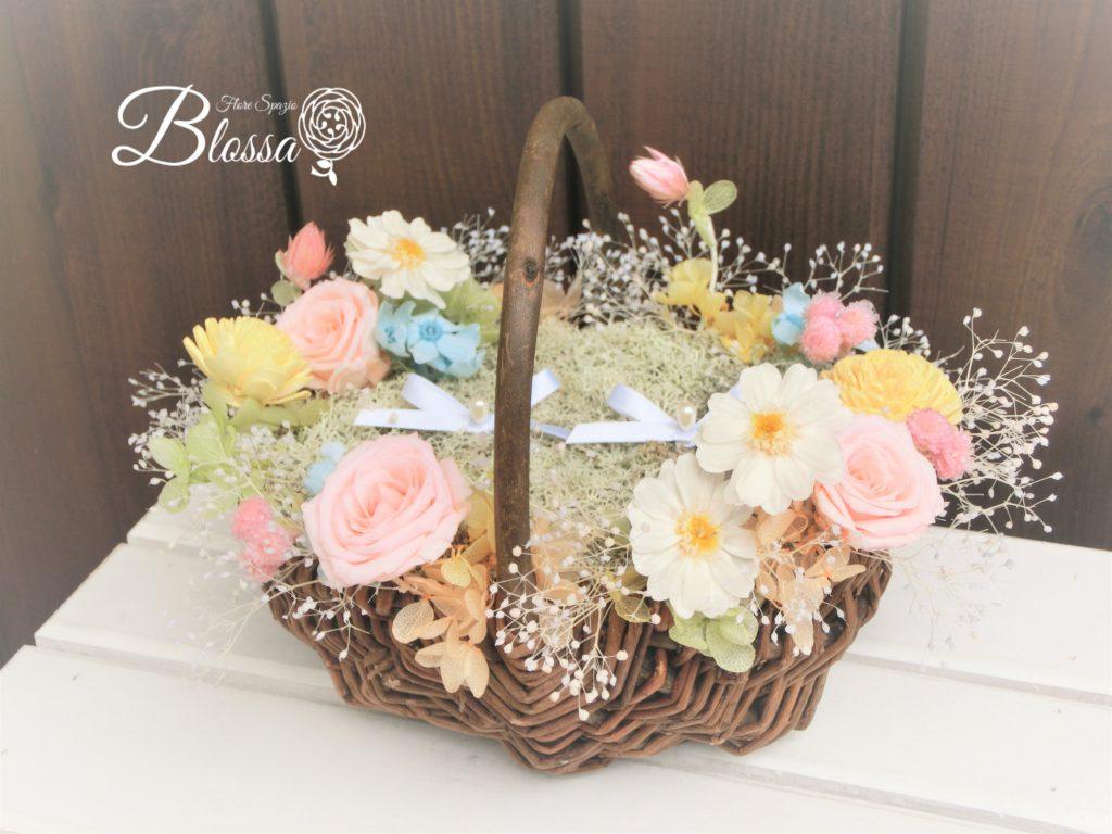 プリザ 花かご 小花のリングピロー