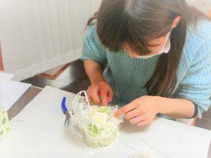 プレ花嫁様がウェディング小物作りを体験されました♡ミモザのリングピロー プリザーブドフラワー・アーティフシャルフラワー