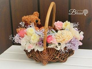 プリザ・くまちゃんの花カゴ プリザーブドフラワー ギフト作り