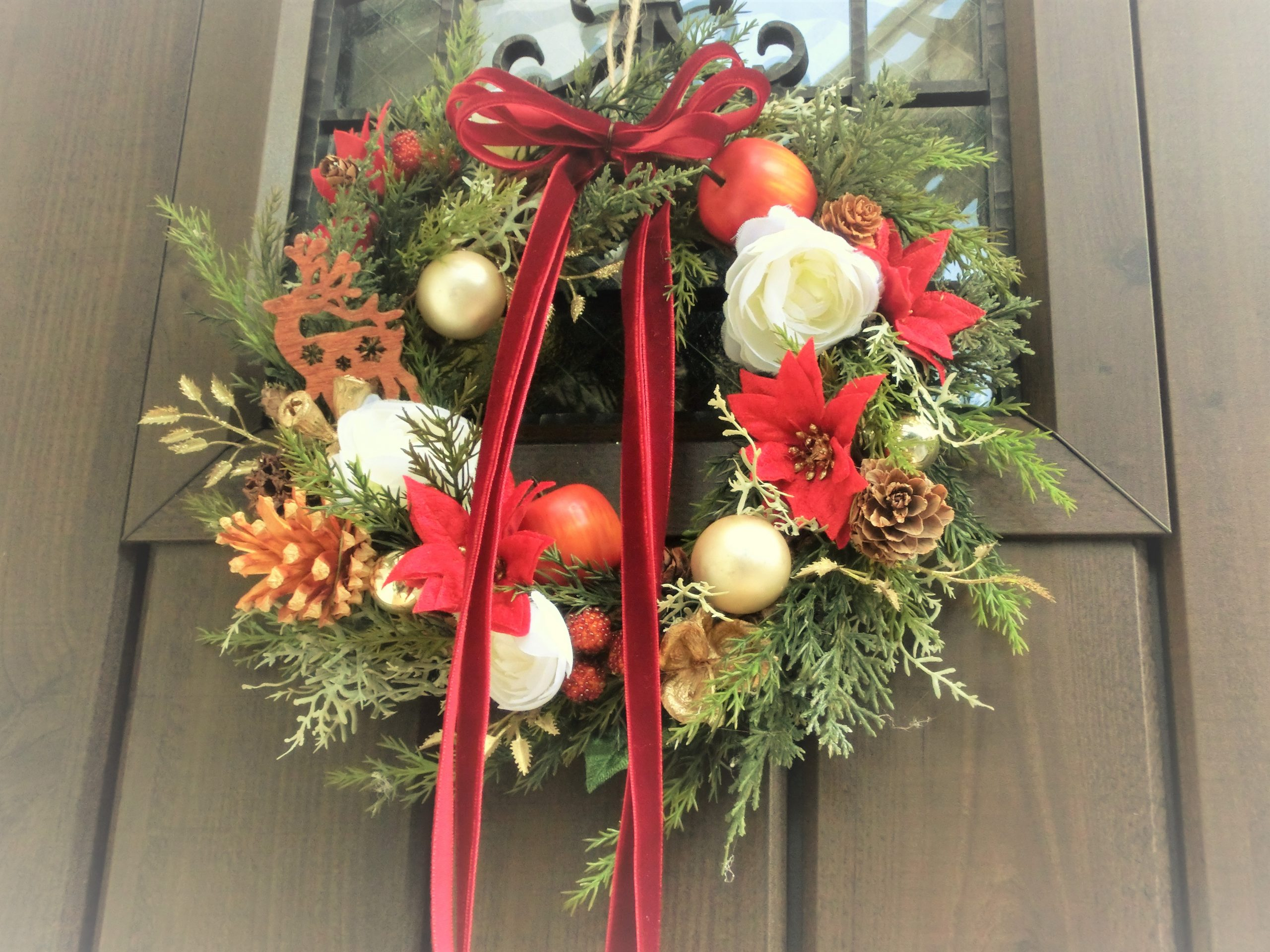 クリスマスリース 赤 造花