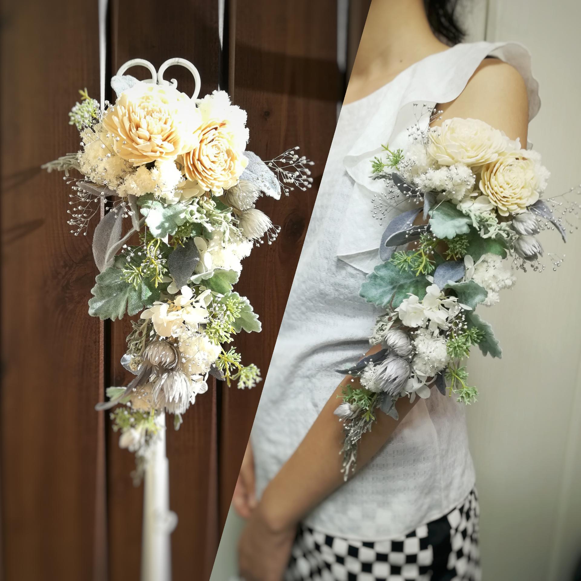 プリザーブドフラワーのアームレット・腕の花飾り アームブーケ・名古屋瑞穂区ブーケ&フラワー教室Blossa