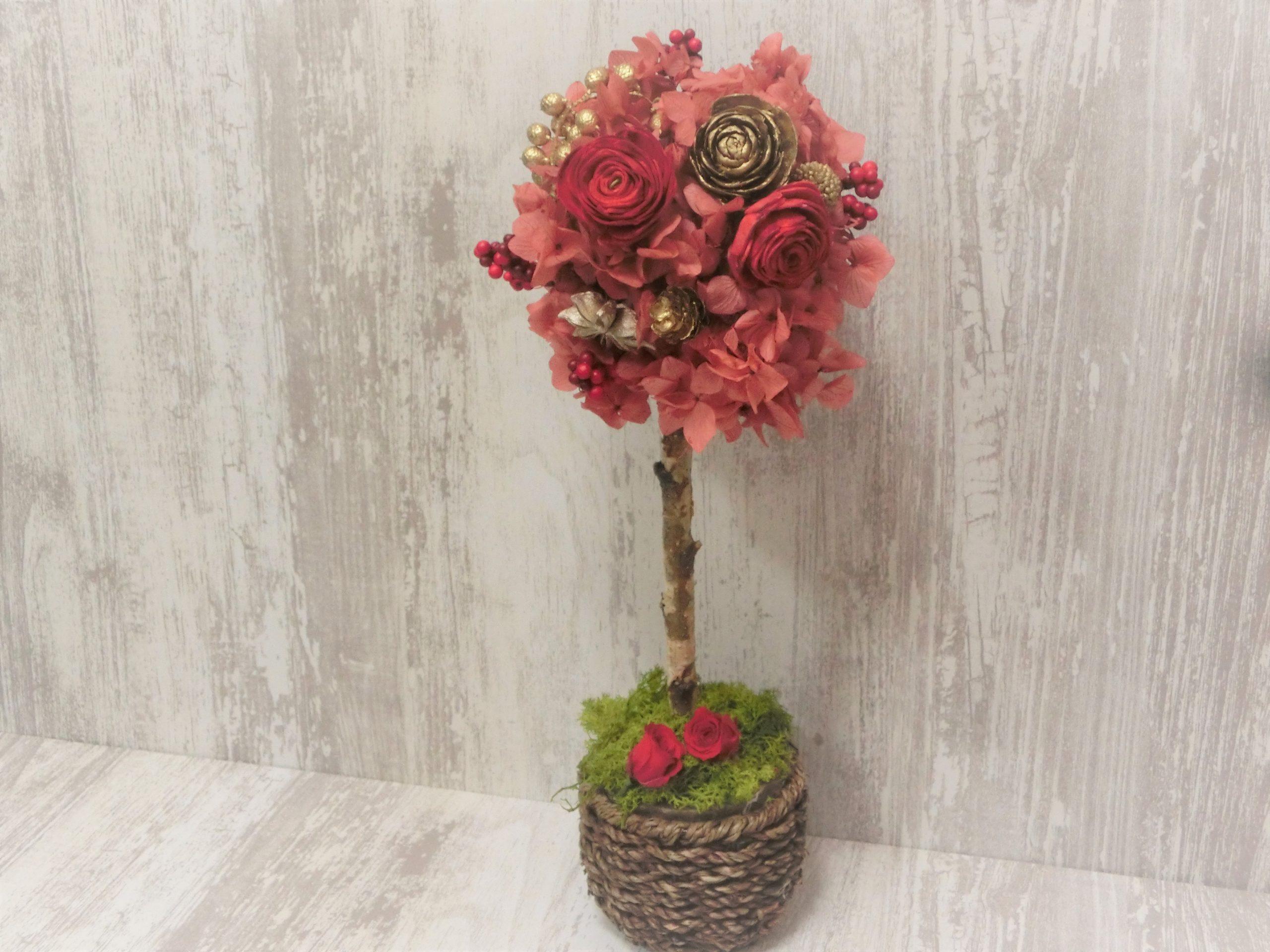 赤いバラのトピアリー・プリザーブドフラワー