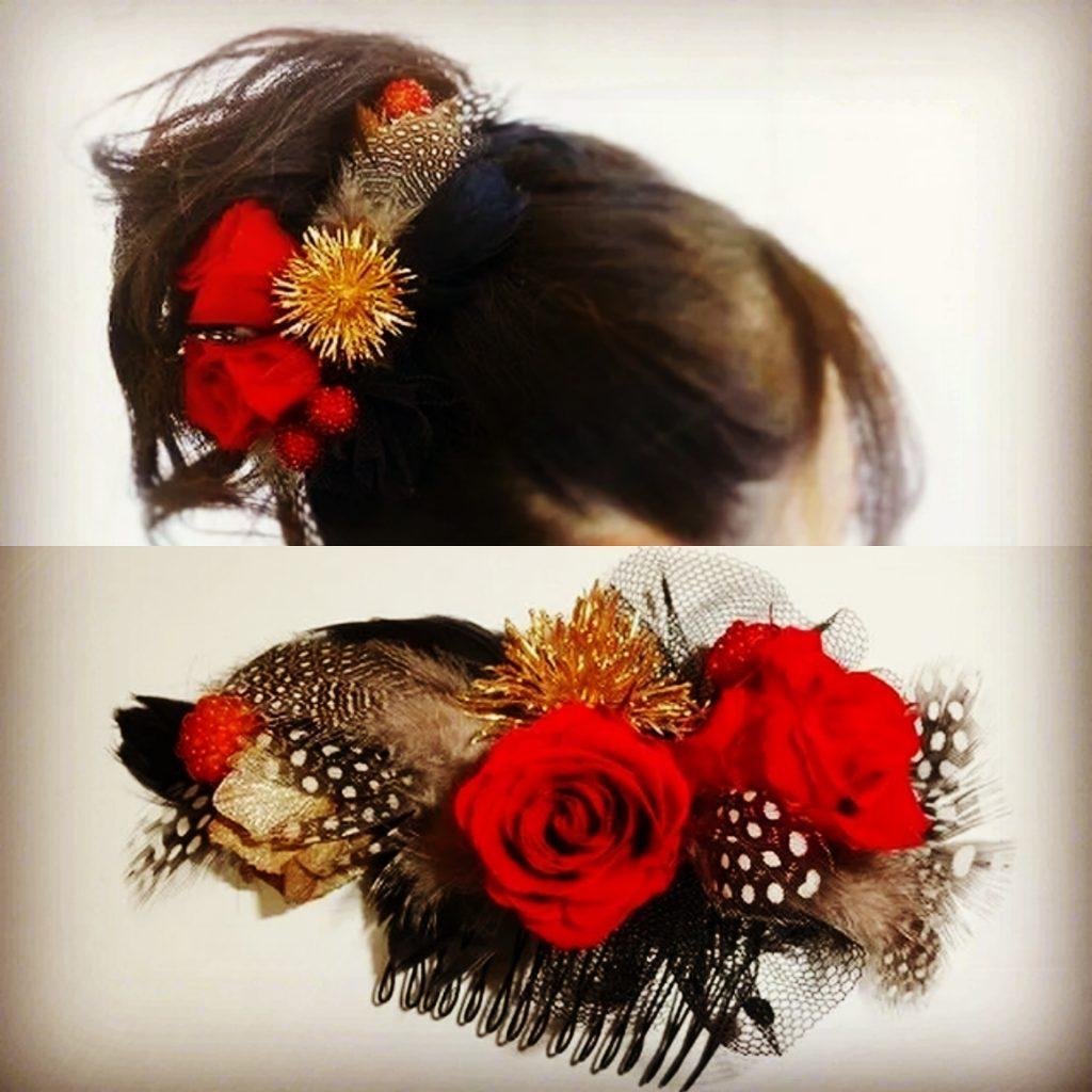 プリザーブドフラワー 髪飾り レッド&ブラック
