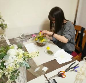 花嫁様のリングピロー作り ミモザ