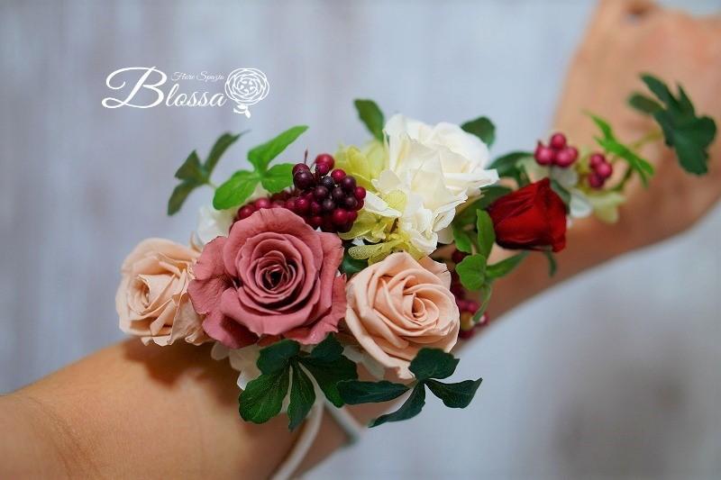 アームレット&リスレット・リストレット 花の腕飾り プリザーブドフラワー お衣装に合わせて制作♪オリジナルオーダーメイド
