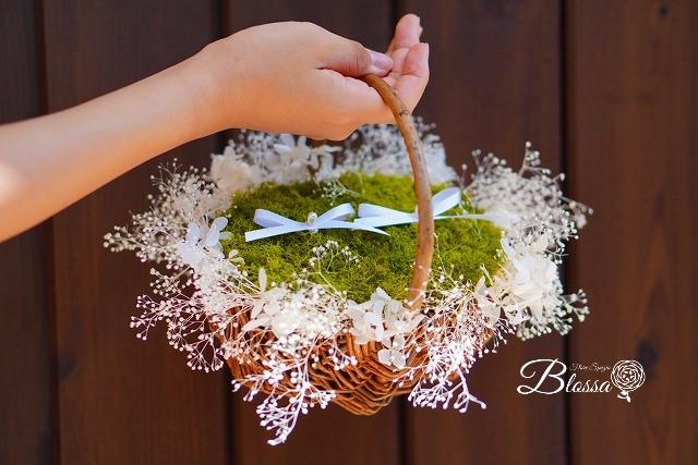 リングピロー・カスミ草・花かご・プリザーブドフラワー・ウェディングギフト