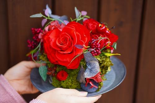 プリザーブドフラワー ハートのアレンジメント・コンポジションFebruary  ~For valentines~ 瑞穂区ブーケ&フラワー教室Blossa