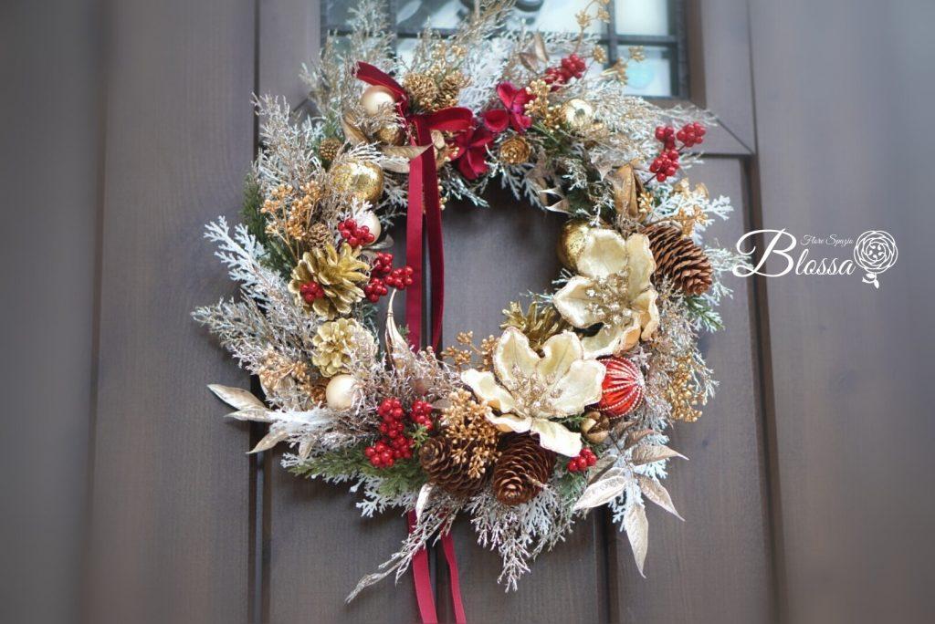 アーティフィシャルフラワー・造花・クリスマスリース・オーダーメイドにてご制作♪36~38センチ前後
